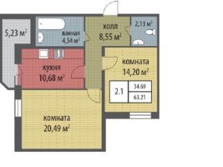 Продажа квартир: 2-комнатная квартира в новостройке, Санкт-Петербург, Петергоф, Ропшинское ш., участок №14к2.1, фото 1