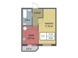 Продажа квартир: 1-комнатная квартира в новостройке, Санкт-Петербург, Петергоф, Ропшинское ш., участок №14к2.5, фото 1