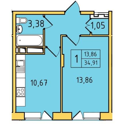 Продажа квартир: 1-комнатная квартира в новостройке, Владимир, мкр. Пиганово, Центральная ул., 16, фото 1