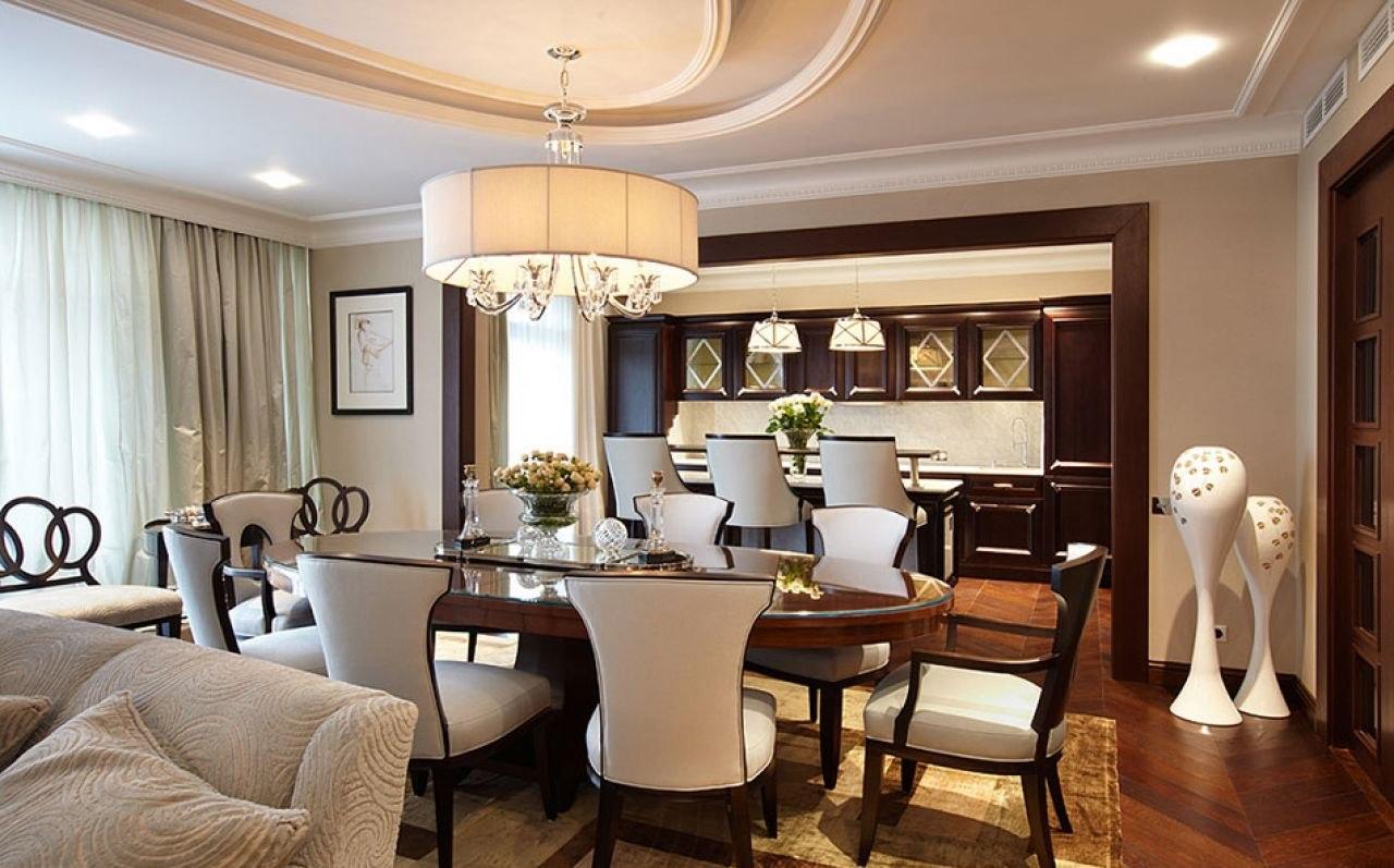Современная гостиная-столовая дизайн